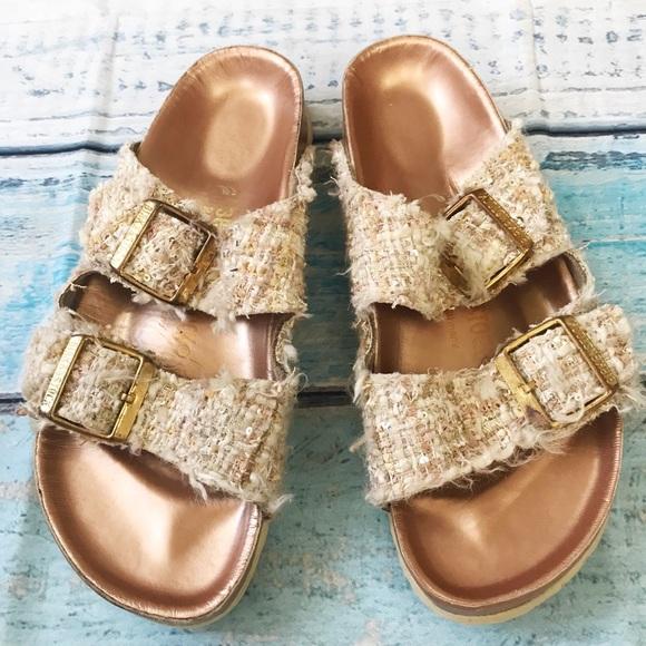 Birkenstock leather tweed sequins sandals